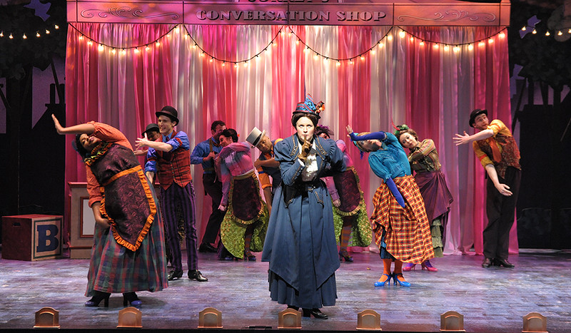 Patricia Hurley (Mary Poppins) and the cast of Olney Theatre Center's Mary Poppins. (Photo: Stan Barouh)