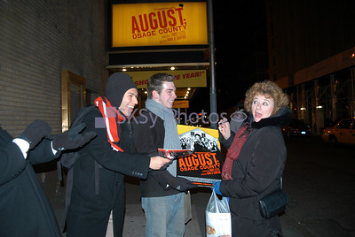 Dame Rondi Reed and her 'throngs' at the stage door.