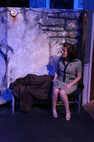 "Sarah Porter as Helen in New Line Theatre's ""Night of the Living Dead,"" 2013. Photo credit: Jill Ritter Lindberg."