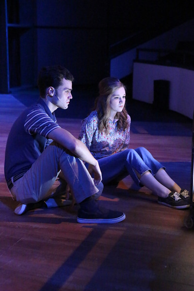 "(l-r) Joseph McAnulty as Tom and Mary Beth Black as Judy, waiting for the next broadcast from the authorities, in New Line Theatre's ""Night of the Living Dead,"" 2013. Photo credit: Jill Ritter Lindberg."