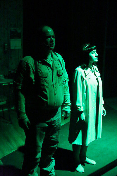 "Zachary Allen Farmer as Ben and Marcy Wiegert as Barbra in the prologue to New Line Theatre's ""Night of the Living Dead,"" 2013. Photo credit: Jill Ritter Lindberg."