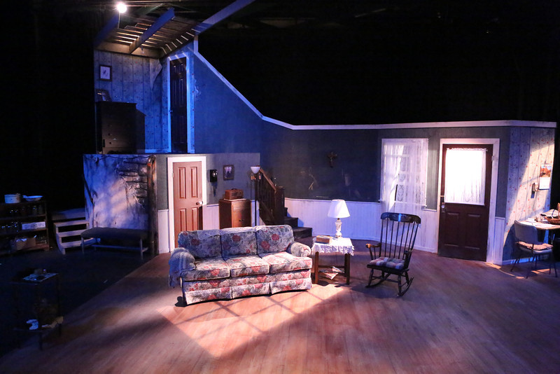 "The set for New Line Theatre's ""Night of the Living Dead,"" 2013, designed by Rob Lippert, who also designed the lighting. Photo credit: Jill Ritter Lindberg."