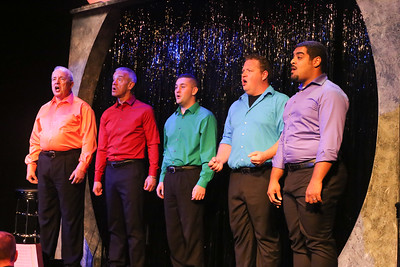 """Ken Haller, Keith Thompson, Sean Michael, Mike Dowdy-Windsor, and Dominic Dowdy-Windsor, singing """"You Are the Light,"""" in OUT ON BROADWAY: THE THIRD COMING, New Line Theatre, 2017. Photo credit: Jill Ritter Lindberg."""