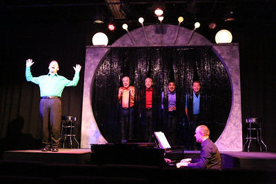 """Sean Michael (left) singing """"You'll Be Back,"""" with Ken Haller, Keith Thompson, Dominic Dowdy-Windsor, and Mike Dowdy-Windsor, with Nate Jackson on the piano, in OUT ON BROADWAY: THE THIRD COMING, New Line Theatre, 2017. Photo credit: Jill Ritter Lindberg."""