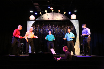 """Keith Thompson,  Ken Haller, Sean Michael, Mike Dowdy-Windsor, and Dominic Dowdy-Windsor singing """"Heart and Music,"""" with Nate Jackson on piano, in OUT ON BROADWAY: THE THIRD COMING, New Line Theatre, 2017. Photo credit: Jill Ritter Lindberg."""