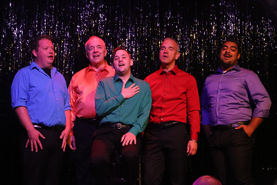 """Mike Dowdy-Windsor, Ken Haller, Sean Michael, Keith Thompson, and Dominic Dowdy-Windsor singing """"Sleepy Man,"""" in OUT ON BROADWAY: THE THIRD COMING, New Line Theatre, 2017. Photo credit: Jill Ritter Lindberg."""