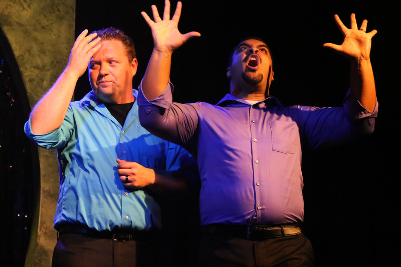 "Mike Dowdy-Windsor and Dominic Dowdy-Windsor singing ""Fine,"" in OUT ON BROADWAY: THE THIRD COMING, New Line Theatre, 2017. Photo credit: Jill Ritter Lindberg."