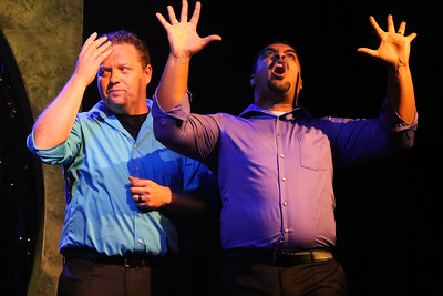 """Mike Dowdy-Windsor and Dominic Dowdy-Windsor singing """"Fine,"""" in OUT ON BROADWAY: THE THIRD COMING, New Line Theatre, 2017. Photo credit: Jill Ritter Lindberg."""
