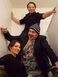"""The stars of New Line Theatre Off Line's adult cabaret """"SOME SONGS 'n' SH!T."""" Top to bottom, Mike Dowdy, Zachary Allen Farmer, and Taylor Pietz. Photo credit: Ryan Foizey."""
