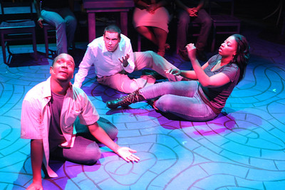 """Cecil Washington Jr., Keith Parker, and Jeanitta Perkins, taking an acid trip in the song, """"Must've Been High,"""" in New Line Theatre's """"Passing Strange."""" Photo credit: Jill Ritter Lindberg."""