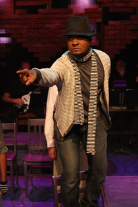 "Cecil Washington Jr. as the art revolutionary Hugo in New Line Theatre's ""Passing Strange."" Photo credit: Jill Ritter Lindberg."