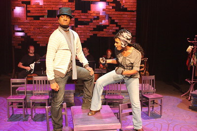 """Cecil Washington Jr. and Andrea Purnell as German art revolutionaries in New Line Theatre's """"Passing Strange."""" Photo credit: Jill Ritter Lindberg."""