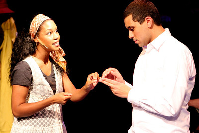 """Andrea Purnell and Keith Parker, singing """"Keys"""" in New Line Theatre's """"Passing Strange."""" Photo credit: Jill Ritter Lindberg."""
