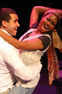 """Keith Parker and Andrea Purnell singing """"We Just Had Sex"""" in New Line Theatre's """"Passing Strange."""" Photo credit: Jill Ritter Lindberg."""