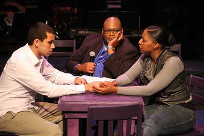 "Keith Parker, Charles Glenn, and Jeanitta Perkins, singing ""Damage"" in New Line Theatre's ""Passing Strange."" Photo credit: Jill Ritter Lindberg."