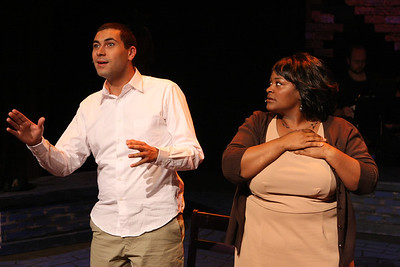 """Keith Parker as the Youth and Talichia Noah as the Mother in New Line Theatre's """"Passing Strange."""" Photo credit: Jill Ritter Lindberg."""