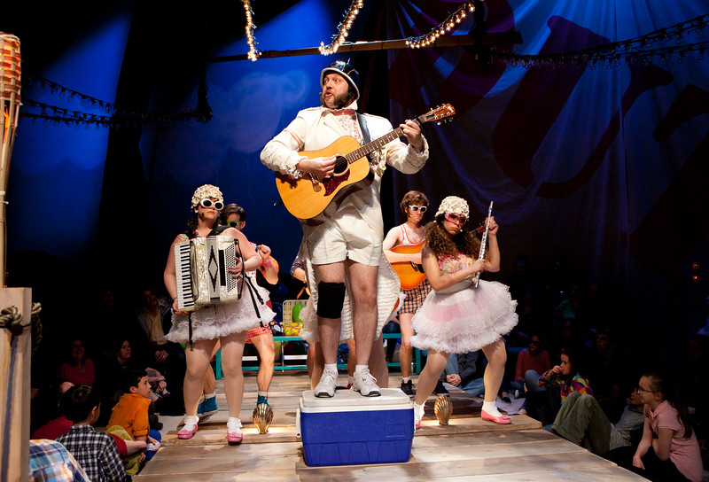 Matt Kahler (Major General) and the cast of The Hypocrites' THE PIRATES OF PENZANCE at Olney Theatre Center (Photo: Evgenia Eliseeva, courtesy of American Repertory Theatre)