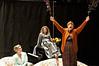 Scene from Blithe Spirit: Ruth (Charlene Sloan), Elvira (Annette Kalicki), and Madame Arcati (Leah Mazade )