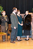 Miss Casewell (Karen Winokur) looks on as the owners of Monkswell Manor --Giles Ralston (Joseph Bissex) and his wife, Mollie (Natalie McManus)-- talk to the always-complaining Mrs. Boyle (Mellicent Singham).