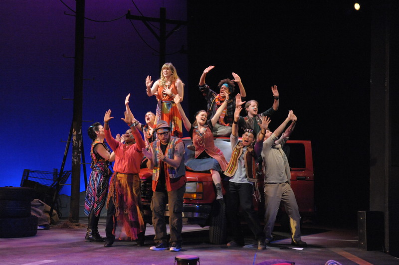 The cast of GODSPELL at Olney Theatre Center. (Photo: Stan Barouh)