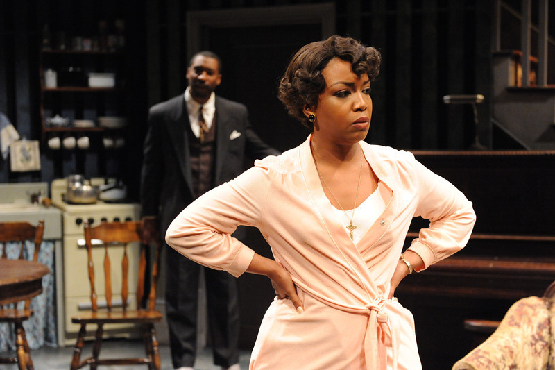 Jessica Frances Dukes as Berniece and JaBen Early as Avery in Olney Theatre Center's production of THE PIANO LESSON. (Photo by Stan Barouh)