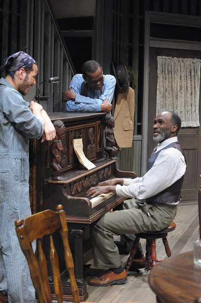 Jon Hudson Odom as Lymon, Harold Surratt as Wining Boy and Jonathan Peck as Doaker in Olney Theatre Center's production of THE PIANO LESSON. (Photo by Stan Barouh)