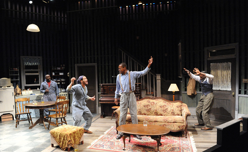 Ronald Conner as Boy Willie, Jon Hudson Odom as Lymon, Jonathan Peck as Doaker, and Harold Surratt as Wining Boy in Olney Theatre Center's production of THE PIANO LESSON. (Photo by Stan Barouh)