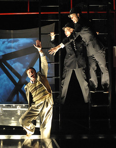 Jason Lott  & Evan Casey portray over 100 characters while chasing in their pursuit of Richard Hannay (Jeffries Thaiss) in Olney Theatre Center's THE 39 STEPS.  Photo Credit: Stan Barouh