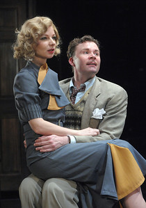 Like any relationship in a Hitchcock thriller, Richard Hannay (Jeffries Thaiss) and Anabella (Susan Lynskey) and must overcome murder, betrayal and mayhem in Olney Theatre Center's production of THE 39 STEPS.  Photo Credit: Stan Barouh