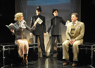 Jeffries Thaiss, Susan Lynskey, Evan Casey & Jason Lott portray over 150 characters in Olney Theatre Center's production of THE 39 STEPS.  Photo Credit: Stan Barouh