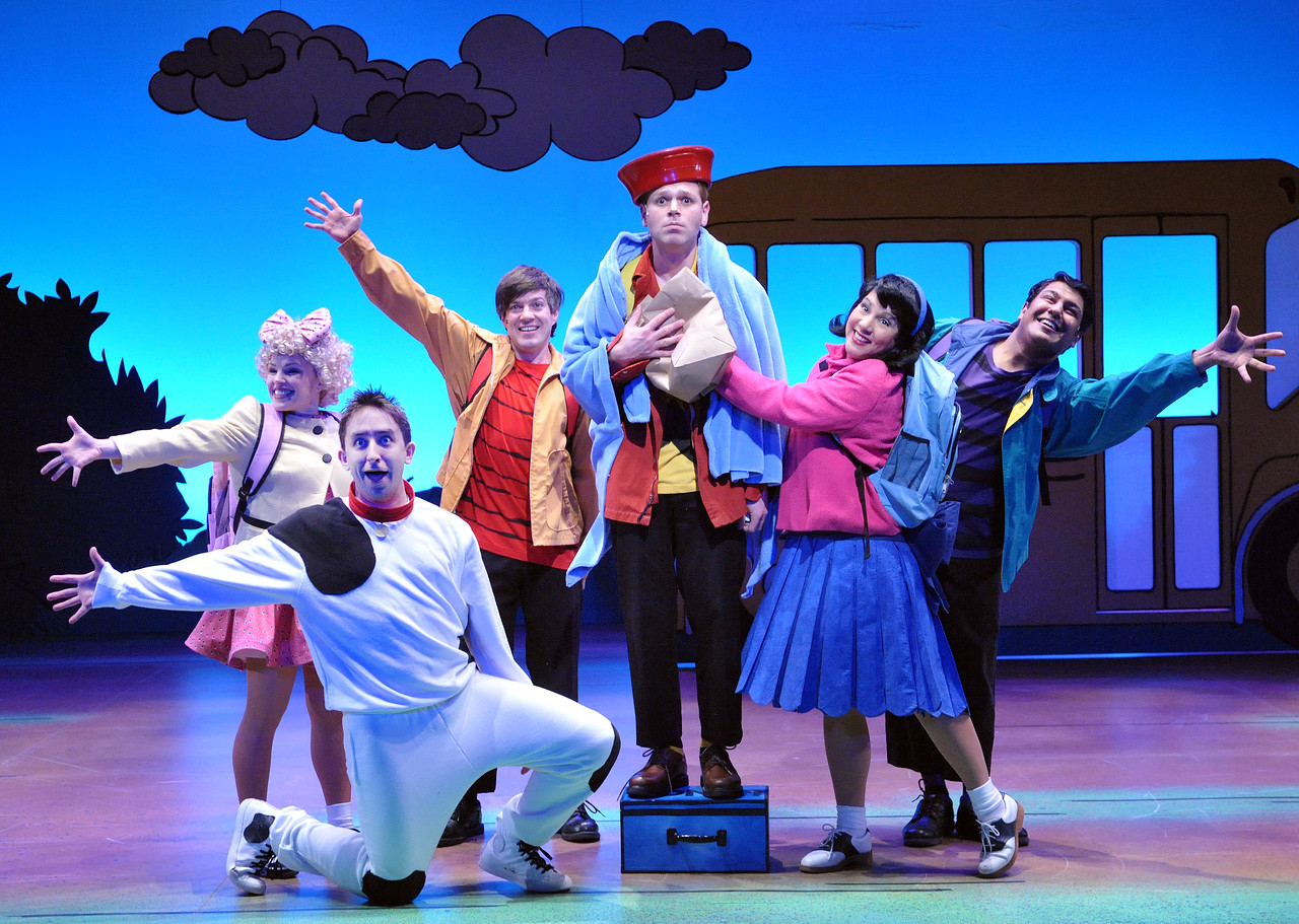 Charlie Brown (Zack Colonna) and the rest of the Peanuts gang in Olney Theatre Center's production of YOU'RE A GOOD MAN, CHARLIE BROWN.  (Photo: Stan Barouh)