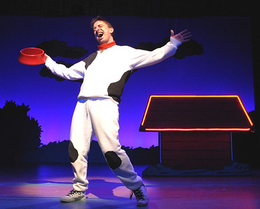 "Snoopy (James Gardiner) sings about the joys of ""Suppertime"" in Olney Theatre Center's production of YOU'RE A GOOD MAN, CHARLIE BROWN.  (Photo: Stan Barouh)"
