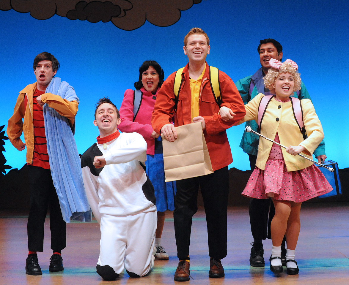 This is going to be a good day for the Peanuts gang in Olney Theatre Center's production of YOU'RE A GOOD MAN, CHARLIE BROWN.  (Photo: Stan Barouh)