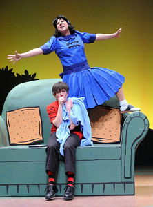 Lucy (Janine Sunday) subjects her younger brother Linus (Paul Wyatt) to her grand plan of being Queen one day in Olney Theatre Center's production of YOU'RE A GOOD MAN, CHARLIE BROWN.  (Photo: Stan Barouh)