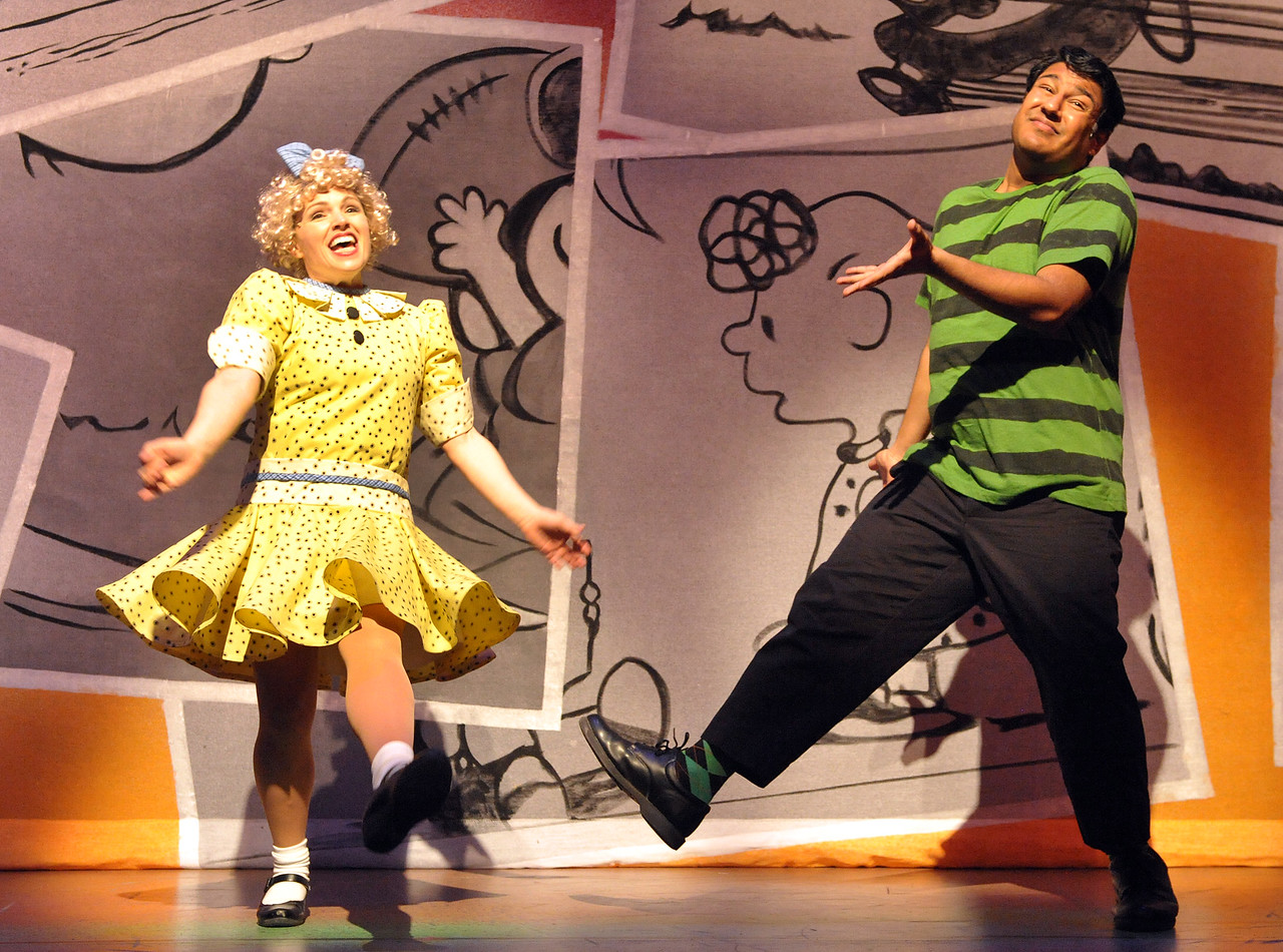 Sally (Jaimie Kelton) and Schroeder (Vishal Vaidya) sing about different philosophies in Olney Theatre Center's production of YOU'RE A GOOD MAN, CHARLIE BROWN.  (Photo: Stan Barouh)