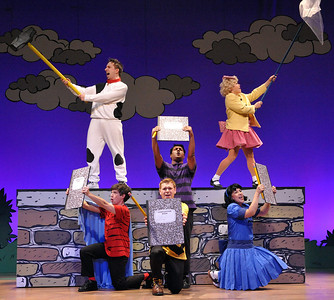 Homework and Rabbit Chasing? All a part of a normal day for the Peanuts gang in Olney Theatre Center's production of YOU'RE A GOOD MAN, CHARLIE BROWN.  (Photo: Stan Barouh)