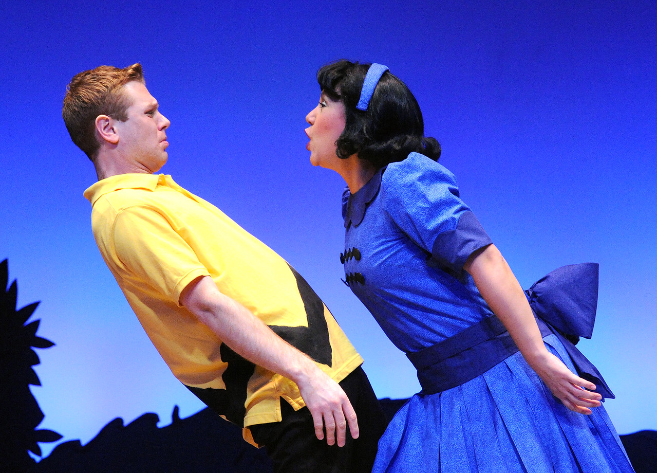 Another good grief moment for Charlie Brown (Zack Colonna) as Lucy (Janine Sunday) is her bossy self - again - in Olney Theatre Center's production of YOU'RE A GOOD MAN, CHARLIE BROWN.  (Photo: Stan Barouh)