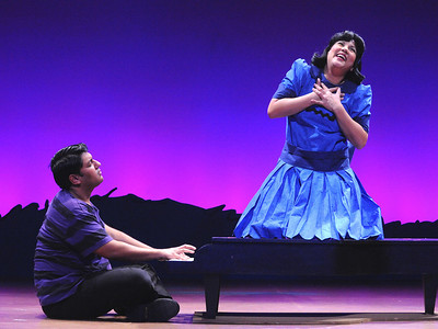 Lucy (Janine Sunday) professes her love for Schroeder (Vishal Vaidya) in Olney Theatre Center's production of YOU'RE A GOOD MAN, CHARLIE BROWN.  (Photo: Stan Barouh)