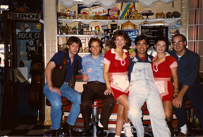 Tom Mendel, Malcolm Ruhl, Cass Morgan, Rick Pickren, Dawn Hopper, Shawn Stengel. PUMP BOYS & DINETTES at the Apollo Theatre in Chicago.  1988