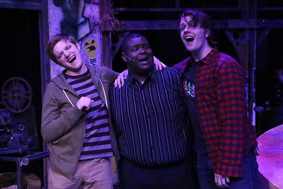 """(L-R) Jeremy Hyatt (as Mark), Marshall Jennings (Collins), and Evan Fornachon (Roger) in New Line Theatre's """"RENT,"""" 2014. Photo credit: Jill Ritter Lindberg."""
