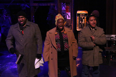 """Robert Lee Davis III, Melissa Harris, and Kevin Corpuz as homeless people, singing """"On the Street,"""" in New Line Theatre's """"RENT,"""" 2014. Photo credit: Jill Ritter Lindberg."""