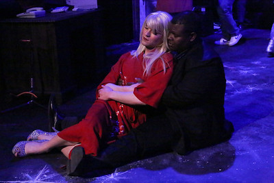 """Luke Steingruby as Angel and Marshall Jennings as Collins, in New Line Theatre's """"RENT,"""" 2014. Photo credit: Jill Ritter Lindberg."""