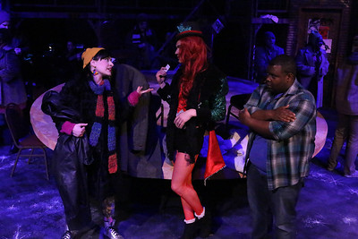 """Marcy Wiegert, Luke Steingruby (as Angel), and Marshall Jennings (Collins) in New Line Theatre's """"RENT,"""" 2014. Photo credit: Jill Ritter Lindberg."""