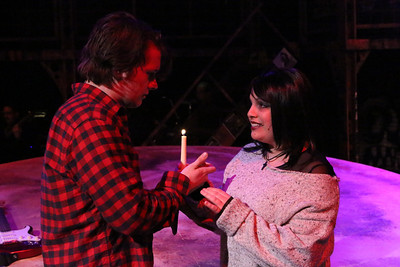 """Evan Fornachon (Roger) and Anna Skidis (Mimi), singing """"Light My Candle,"""" in New Line Theatre's """"RENT,"""" 2014. Photo credit: Jill Ritter Lindberg."""