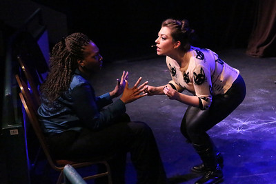 """Cody LaShea (as Joanne, left) and Sarah Porter (as Maureen), singing """"Take Me or Leave Me,"""" in New Line Theatre's """"RENT,"""" 2014. Photo credit: Jill Ritter Lindberg."""