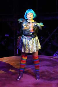 """Sarah Porter as Maureen in """"Over the Moon,"""" in New Line Theatre's """"RENT,"""" 2014. Photo credit: Jill Ritter Lindberg."""