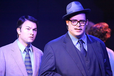 "Matt Pentecost as Sidney Falco and Zachary Allen Farmer as J.J. Hunsecker, singing ""Welcome to the Night,"" in SWEET SMELL OF SUCCESS, New Line Theatre, 2017. Photo credit: Jill Ritter Lindberg."