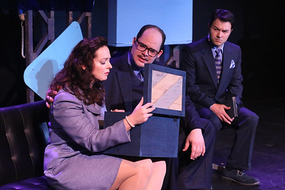 "Zachary Allen Farmer (center) as J.J. Hunsecker, singing ""For Susan,"" with Ann Hier as Susan Hunsecker and Matt Pentecost as Sidney Falco,  in SWEET SMELL OF SUCCESS, New Line Theatre, 2017. Photo credit: Jill Ritter Lindberg."