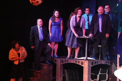 "The cast singing ""What If"" in SWEET SMELL OF SUCCESS, New Line Theatre, 2017. Photo credit: Jill Ritter Lindberg."