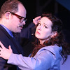 """Zachary Allen Farmer as J.J. Hunsecker and Ann Hier as Susan Hunsecker, dancing in """"For Susan,"""" in SWEET SMELL OF SUCCESS, New Line Theatre, 2017. Photo credit: Jill Ritter Lindberg."""